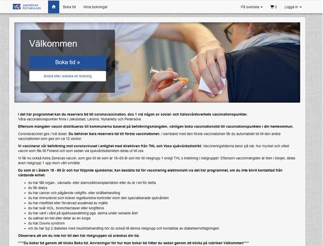 Ett elektroniskt tidsbokningssystem till coronavaccineringen tas i bruk i Malmskas område.