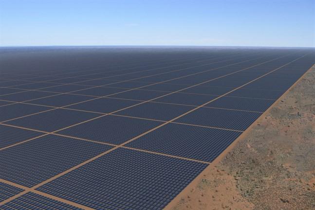 Så här kan den gigantiska solcellsparken i Northern Territory komma att se ut. Animering från företaget Sun Cable.