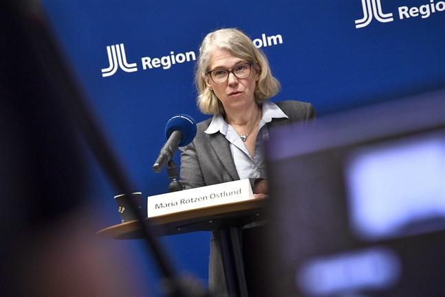 Smittskyddsläkare Maria Rotzén Östlund under en pressträff där Region Stockholm berättar om pandemiläget och de åtgärder som vidtas.