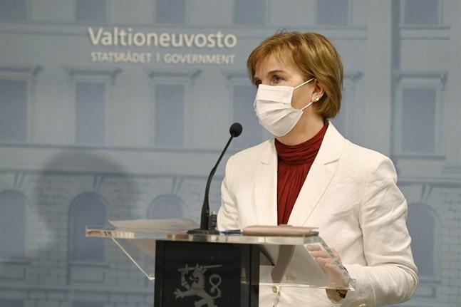Justitieminister Anna-Maja Henriksson fotograferad under regeringens presskonferens på torsdagen.