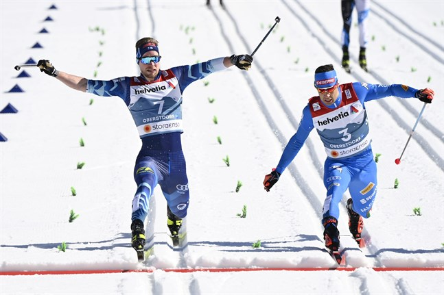 Det var inte många centimetrar som skilde Joni Mäki från Federico Pellegrino i kvartsfinalen. Men det var italienaren som var före över mållinjen och som fick fortsätta sprintäventyret i semifinal.