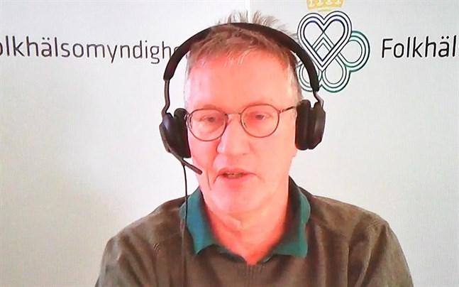 Anders Tegnell, statsepidemiolog, Folkhälsomyndigheten, deltar på dagens myndighetsgemensamma digitala pressträff om coronaläget.