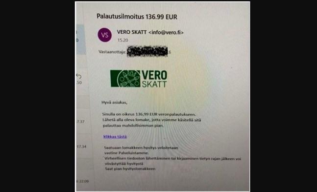"""Så här ser bluffmeddelandet från """"Skatteförvaltningen"""" ut. Ett sådant här meddelande skickades till flera småföretagare i Finland förra veckan. Skatteförvaltningen rekommenderar att man förstör meddelandet omedelbart."""
