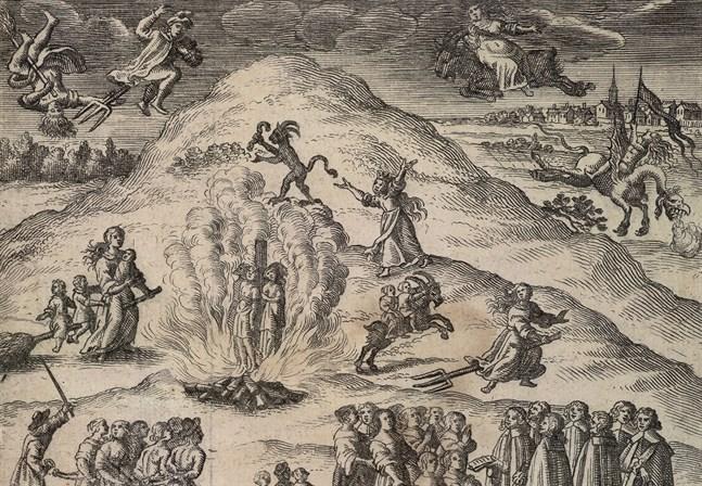 Utsnitt av ett tyskt kopparstick från 1670. Här skildras hur trolldom uppfattades under tidigmodern tid. Bilden är baserad på hörsägen om trolldomsprocesser och massavrättningar i Mora socken. Kungliga biblioteket, Stockholm