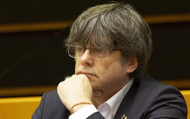Kataloniens förre regionale regeringschef Carles Puigdemont i EU-parlamentet.