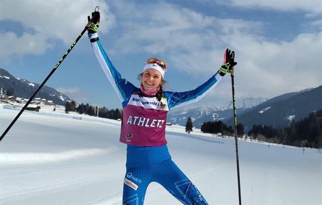 Heidi Kuuttinen var sprudlande glad efter karriärens bästa lopp som kom på onsdagen i Österrike.