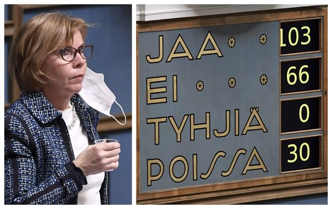 103 ledamöter röstade för fortsatt förtroende för justitieminister Anna-Maja Henriksson (SFP).