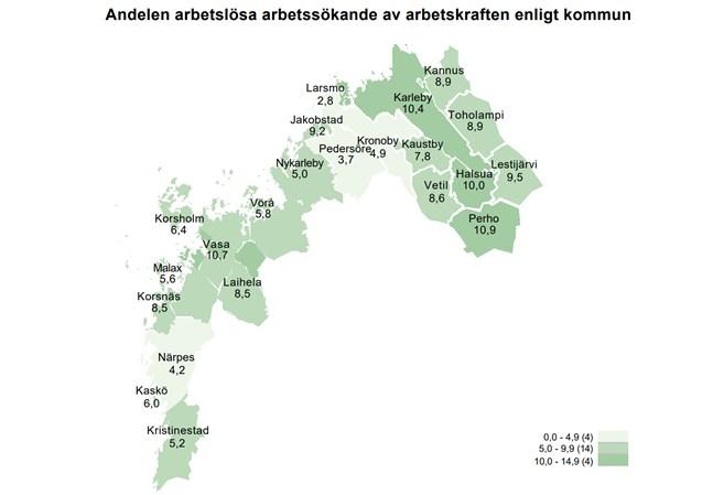 Arbetslöshetsgraden i Österbotten och Mellersta Österbotten har ökat jämfört med situationen för ett år sedan, före pandemin.