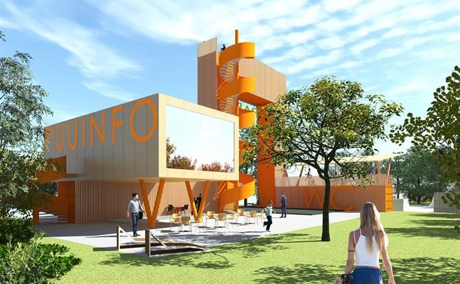 Paviljongen blir över 105 kvadratmeter och uthuset cirka 50 kvadratmeter.