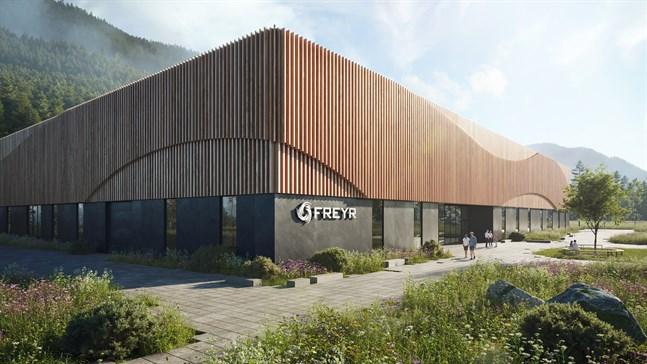 Så här har arkitekterna planerat att Freyrs batterifabrik i Mo i Rana ska se ut 2025.