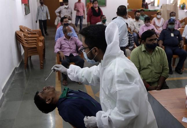 Nästan 90000 personer har testat positivt för covid-19 på ett dygn i Indien, enligt landets hälsodepartement. Arkivbild.