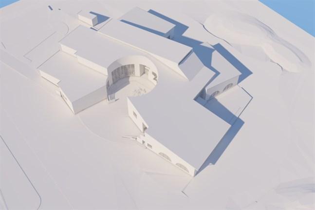 Bennäs skolas centrum är det så kallade runda torget. Innergården ska skapa ett skydd på den annars blåsiga åkertomten.