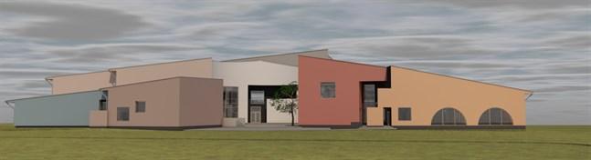 Den nya skolan har en våningsyta på nästan 3000 kvadratmeter. Fasaden ska till största del bestå av träpanel.