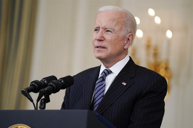President Joe Biden under sitt tal i Vita huset på tisdagskvällen, lokal tid.