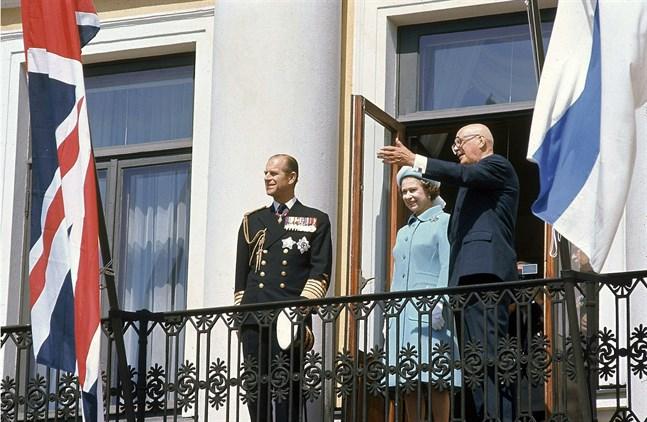 Prins Philip besökte Finland många gånger. Här med drottning Elisabet II och president Urho Kekkonen.