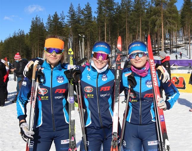 Silvertrion i Norrvalla Ski Team: Wilma Hjerpe, Olivia Kumara och Signe Jakobsson.