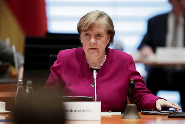 Tysklands förbundskansler Angela Merkel vid ett regeringssammanträde i slutet av mars. Arkivbild.