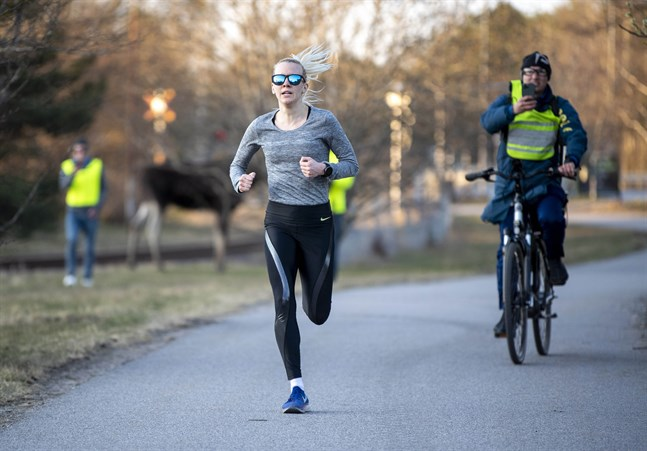 Sandra Eriksson under de avslutande hundra metrarna på sitt lopp på fem kilometer. I bakgrunden syns älgen som gjorde deltagarna sällskap.