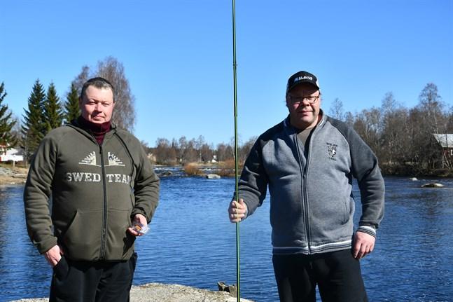 Sportfiskarna Tomi Viitanen och Markku Maunus från Alavo berömmer Lappfjärds å. Ett besök där hör våren till.