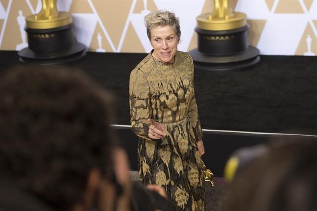 """Frances McDormand vann en Oscar för bästa kvinnliga huvudroll 2018. I år är hon nominerad till samma pris för filmen """"Nomadland"""". Arkivbild."""