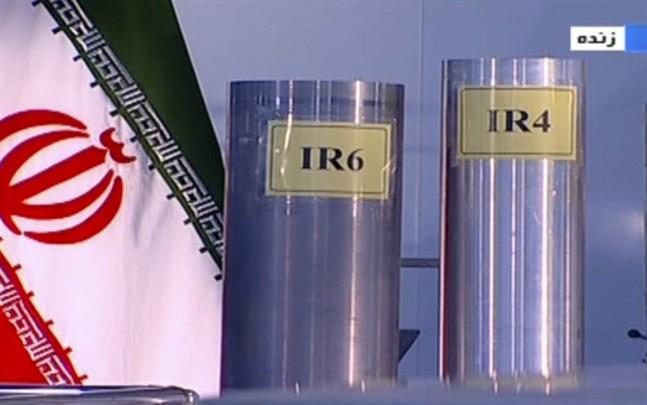 Iranska centrifuger för anrikning av uran, visade i statlig tv 2018.