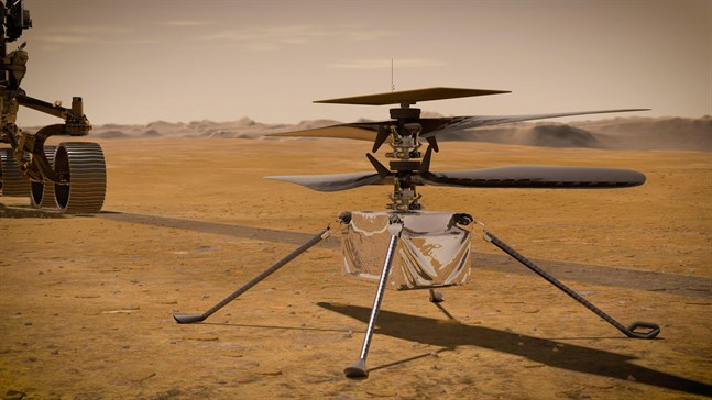 Minihelikoptern Ingenuity, illustrerad av Nasa.