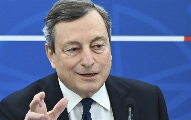 Förre ECB-chefen Mario Draghi, född 1947, leder Italiens regering sedan början av februari.