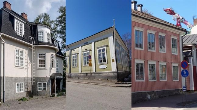 Dessa tre intressanta välkända hus i gatubilden är nu till salu i Karleby.