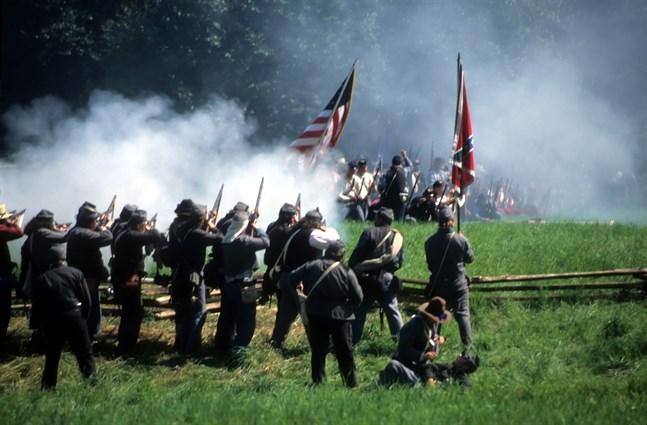 Inbördeskriget i Amerika höll på mellan 1861 och 1865. Bilden är från ett evenemang där kriget återskapades.