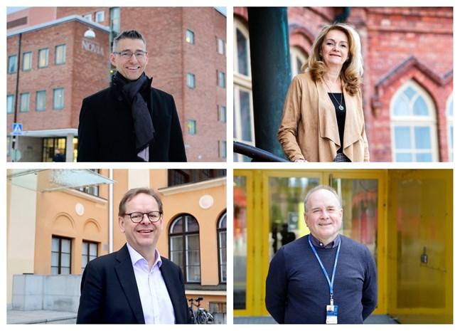 Rektorerna Boris Ståhl på YA, Lisbeth Fagerström på ÅA, Sören Kock på Hanken och Örjan Andersson på Novia säger att fabriksetableringen i Vasa är en positiv nyhet för regionen och skolorna.