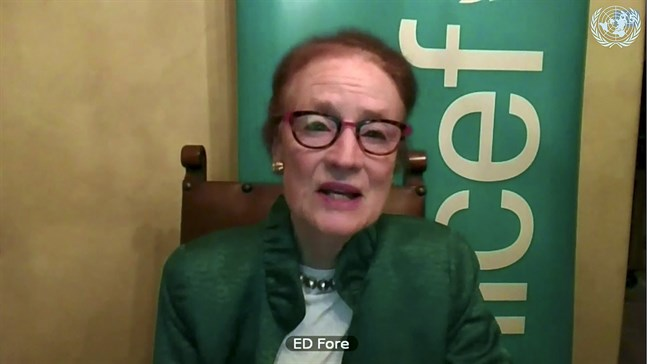 Henrietta Fore, chef för FN:s barnfond Unicef, säger att pandemin förvärrat situationen för miljoner barn i behov av vaccin mot andra sjukdomar än covid-19. Arkivbild.