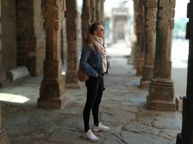 Saara Oinonen flyttade till Indien i januari i fjol, bilden är tagen den 24 januari i New Delhi. Nu är restriktionerna hårda i staden.
