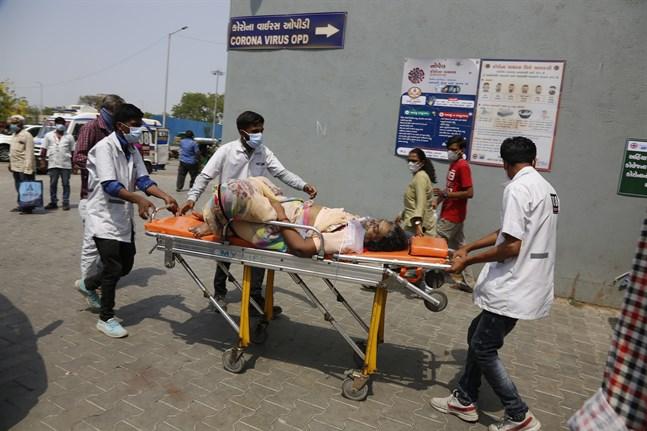 En covid-19-sjuk patient förs till sjukhus i Ahmedabad i Indien.