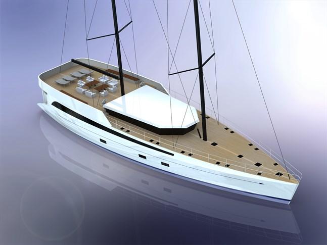 En segelbåt som är nästan som en motorbåt. Med nytänk vill de fånga upp kunder som skulle köpa en motorbåt.