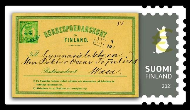 På frimärkena i frimärkshäftet presenteras Finlands första postkort som författaren Zachris Topelius skickade till sin kusin i Vasa 1871.