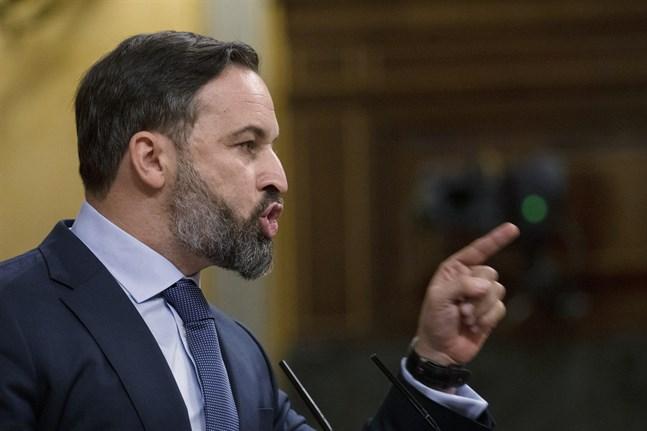 Santiago Abascal, partiledare för högerextrema Vox, under ett tal i det nationella parlamentet i Madrid i oktober i fjol.