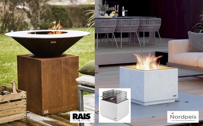 Rais Circle ger dig mysfaktor på terrassen. Generös storlek ø1020mm. Utespisen AIR från Nordpeis har också ett praktist grillset som gör en vacker spis till en vacker grill.