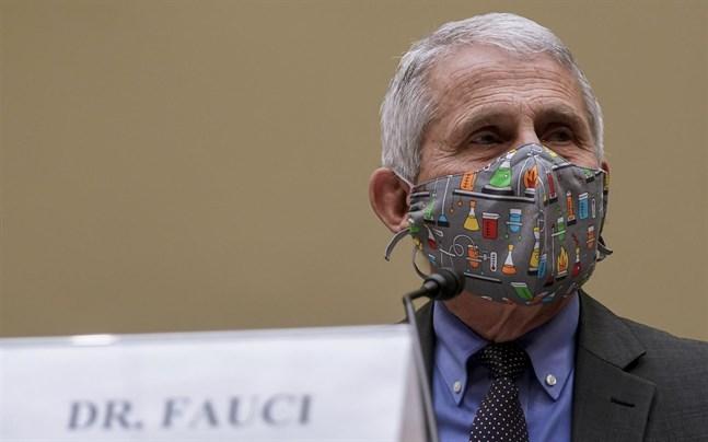 USA:s smittskyddsrådgivare Anthony Fauci när han frågas ut i den amerikanska kongressen förra månaden.