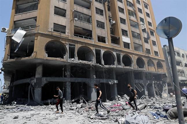Ett hus i staden Gaza som träffats av Israels luftbombardemang.