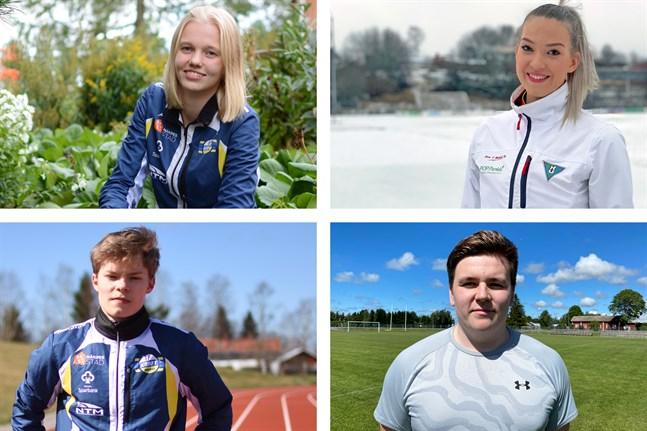 Emma Nyman, Janita Leppäranta, Sebastian Nordberg och Linus Nurminen står alla i startgroparna för årets friidrottssäsong.