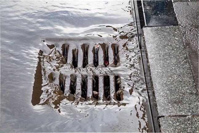På måndag gäller varning för kraftig nederbörd längs hela kusten från Nyland till Österbotten. I urbana miljöer kan det tillfälligt uppstå översvämningar om dagvattensystemet inte hinner leda bort regnvattnet.