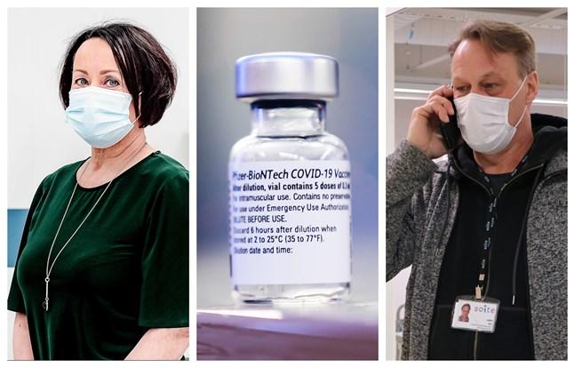 Chefsöverläkare Pirjo Dabnell och Jukka Aro som ansvarar för vaccineringarna inom Soite ser fram emot större vaccinleveranser till Soite.