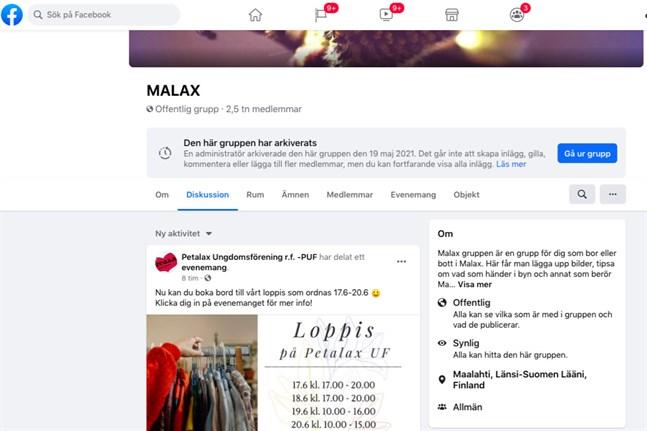Facebookgruppen Malax har funnits i snart tre år och har nästan 2500 medlemmar. Den är stängd tills vidare.