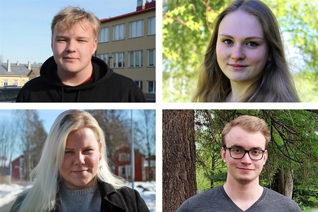 De yngsta kandidaterna i respektive kommun är uppe från vänster: 18-årige Joona Kaunonen (Sannf) i Kaskö, 22-åriga Amanda Åkersten (SFP) i Korsnäs, 18-åriga Nicole Sten (SFP) i Närpes och 21-åriga Eino Laine (Saml) i Kristinestad.