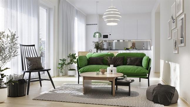 Såväl sovrum, badrum och förvaringsutrymmen är väl tilltagna i lägenheterna och arkitekten har satsat på mesta möjliga ljusinsläpp med stora, höga fönster.