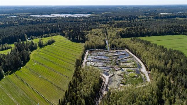 Till den anlagda våtmarken rinner vatten från Vallans farmområde, skogar och åkermark.