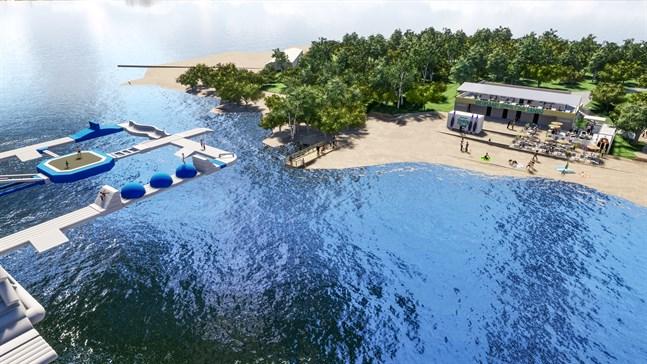 Så här kommer den nya vattenparken på Sandö att se ut. Skissen är gjord av företaget Design by Hanna & Co.
