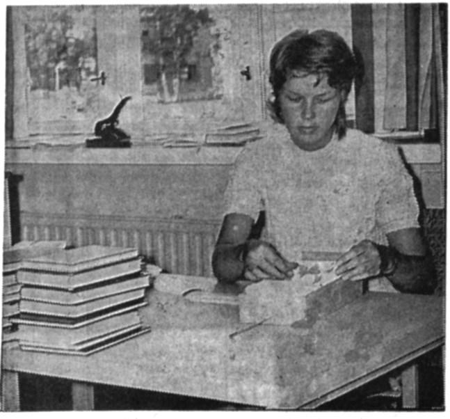 Stud. Siw Mannfolk vikarierar under sommarmånaderna på huvudbiblioteket i Närpes.