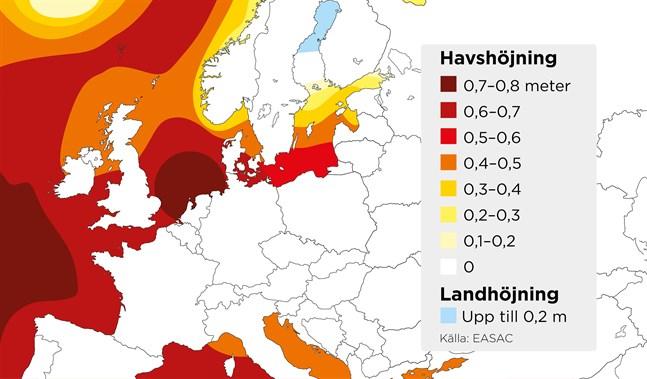 Beräknad höjning av havsnivån under perioden 2000–2100, om utsläppen av växthusgaser fortsätter att öka (RCP8,5). I norra Sverige och Finland förväntas landhöjningen fortfarande överstiga havshöjningen. Den gränsen går i dag ungefär i höjd med Öland.