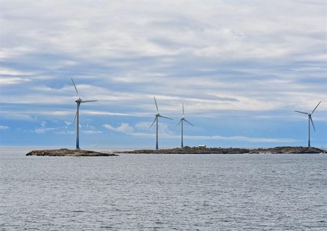 I dag finns det sammanlagt 19 vindkraftverk på Åland. På bilden syns vindkraftverken på Båtskär.